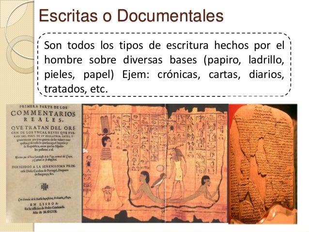 Escritas o DocumentalesSon todos los tipos de escritura hechos por elhombre sobre diversas bases (papiro, ladrillo,pieles,...