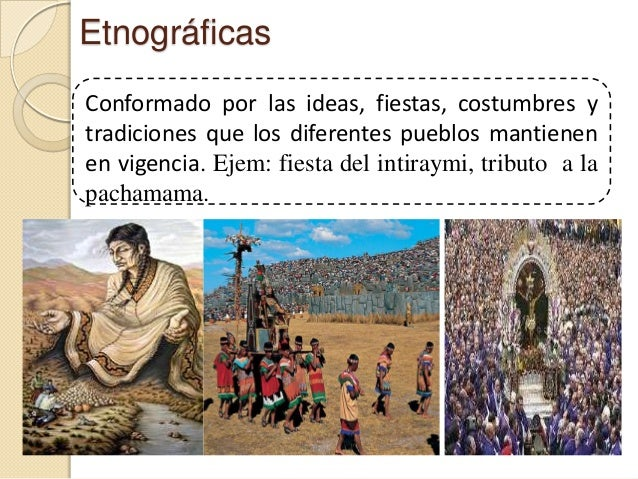 EtnográficasConformado por las ideas, fiestas, costumbres ytradiciones que los diferentes pueblos mantienenen vigencia. Ej...