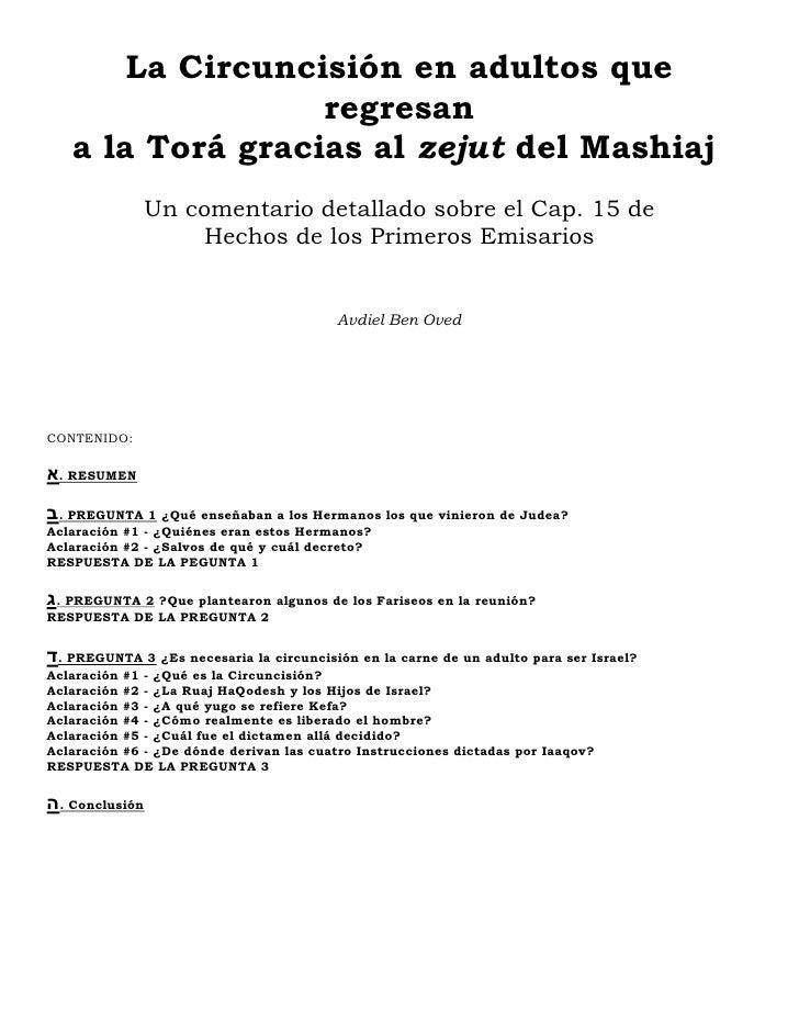 La Circuncisión en adultos que                   regresan    a la Torá gracias al zejut del Mashiaj               Un comen...