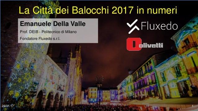 La Città dei Balocchi 2017 in numeri Emanuele Della Valle Prof. DEIB - Politecnico di Milano Fondatore Fluxedo s.r.l. 20/0...