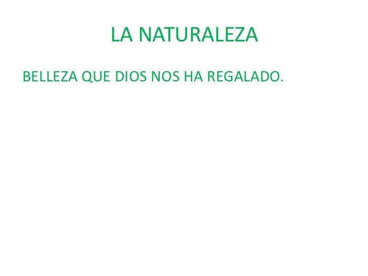 LA NATURALEZA<br />BELLEZA QUE DIOS NOS HA REGALADO.<br />