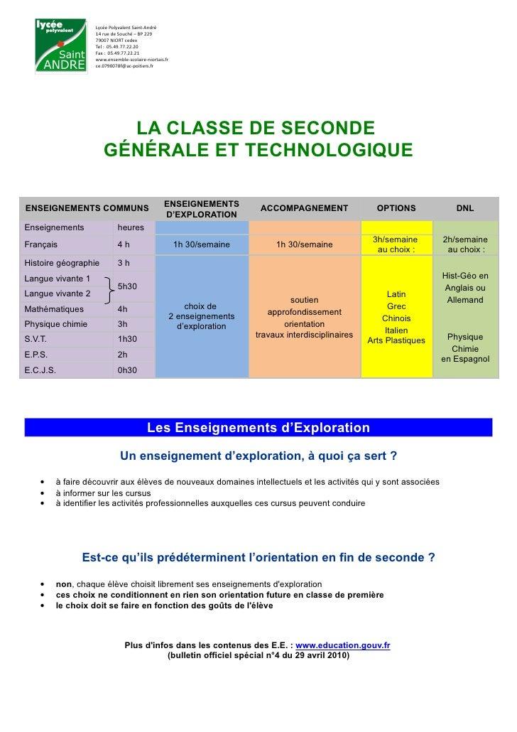 Lycée Polyvalent Saint-André                   14 rue de Souché – BP 229                   79007 NIORT cedex              ...