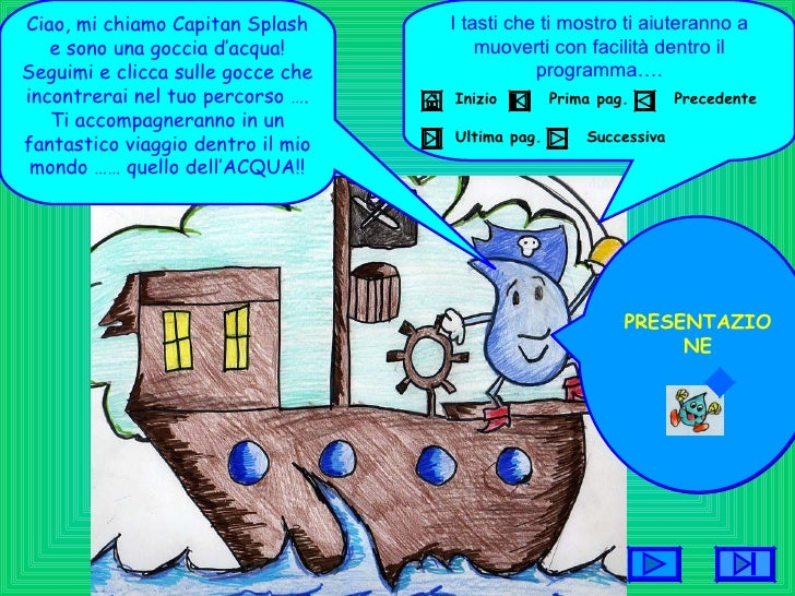 Ciao, mi chiamo Capitan Splash e sono una goccia d'acqua! Seguimi e clicca sulle gocce che incontrerai nel tuo percorso …....
