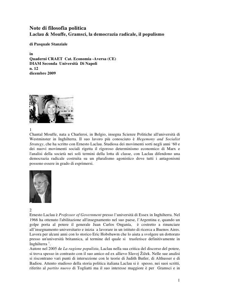 Note di filosofia politica Laclau & Mouffe, Gramsci, la democrazia radicale, il populismo  di Pasquale Stanziale  in Quade...