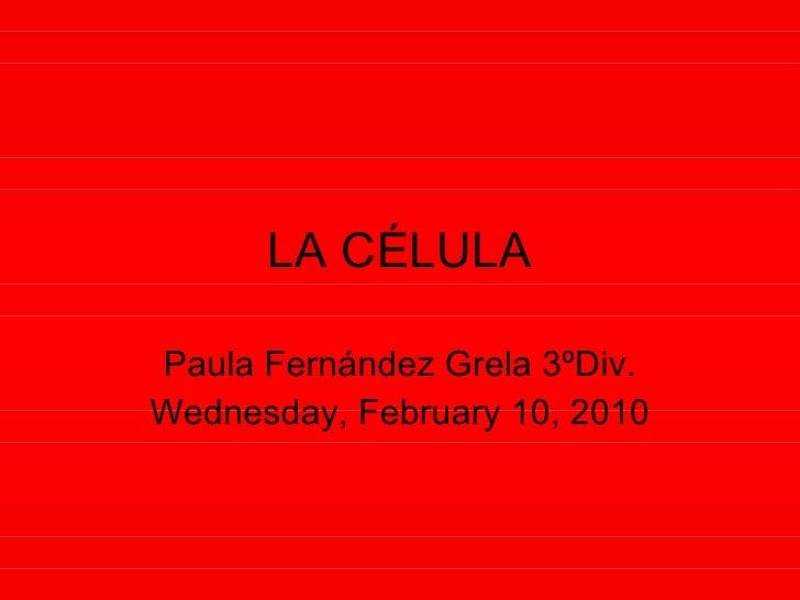 LA CÉLULA Paula Fernández Grela 3ºDiv. Wednesday, February 10, 2010