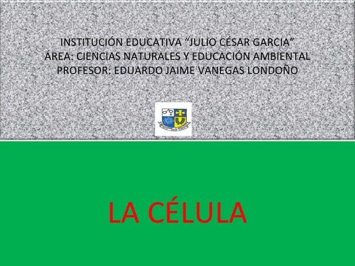 """LA CÉLULA INSTITUCIÓN EDUCATIVA """"JULIO CÉSAR GARCIA"""" ÁREA: CIENCIAS NATURALES Y EDUCACIÓN AMBIENTAL PROFESOR: EDUARDO JAIM..."""