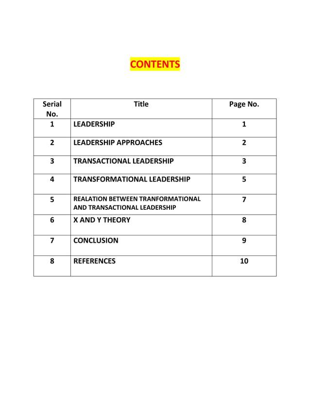 CONTENTS Serial No. Title Page No. 1 LEADERSHIP 1 2 LEADERSHIP APPROACHES 2 3 TRANSACTIONAL LEADERSHIP 3 4 TRANSFORMATIONA...