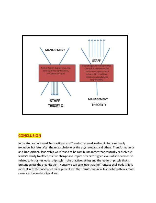 CONCLUSION Initial studies portrayed Transactional and Transformational leadership to be mutually exclusive, but later aft...