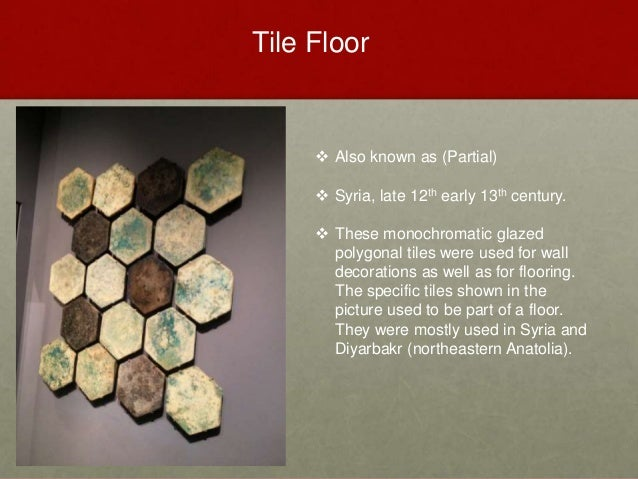  Also known as (Partial)  Syria, late 12th early 13th century.  These monochromatic glazed polygonal tiles were used fo...