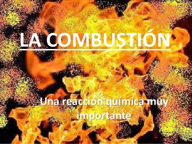 LA COMBUSTIÓN Una reacción química muy importante