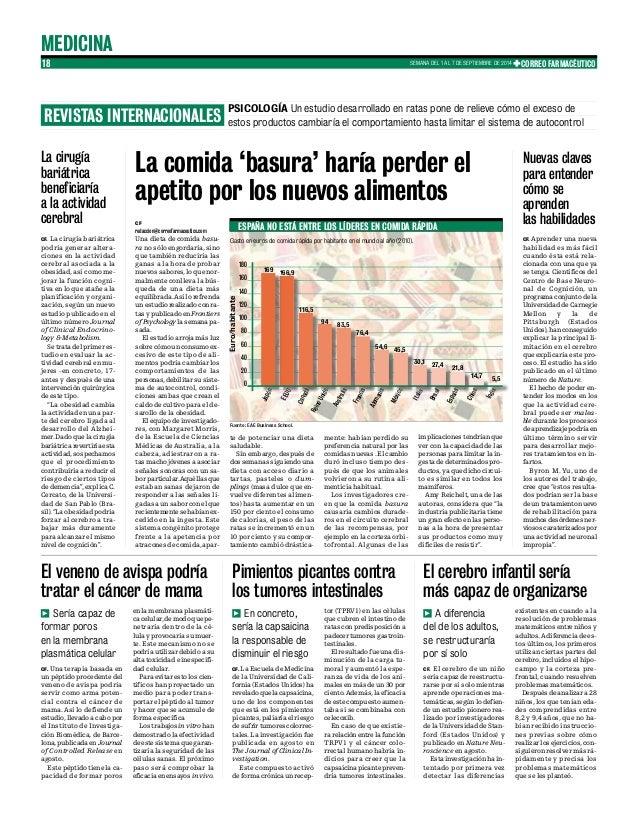 MEDICINA  18 SEMANA DEL 1 AL 7 DE SEPTIEMBRE DE 2014 CORREO FARMACÉUTICO  La comida 'basura' haría perder el  apetito por ...