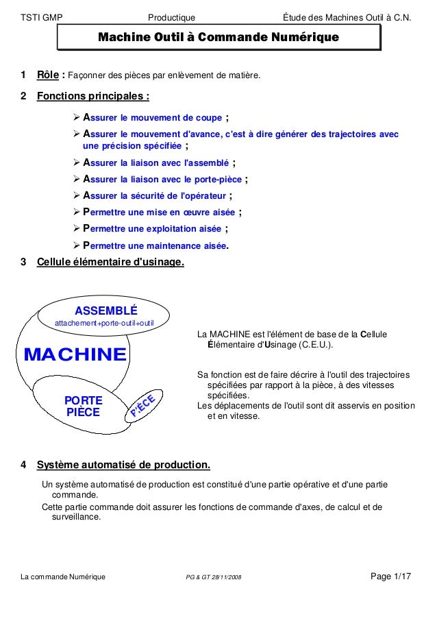 TSTI GMP                           Productique                          Étude des Machines Outil à C.N.                   ...