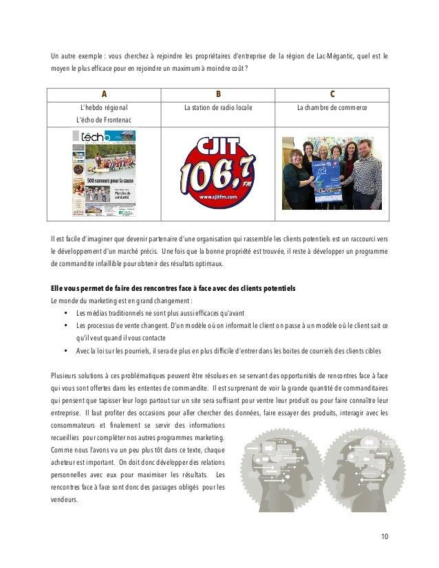 10 Un autre exemple : vous cherchez à rejoindre les propriétaires d'entreprise de la région de Lac-Mégantic, quel est le m...