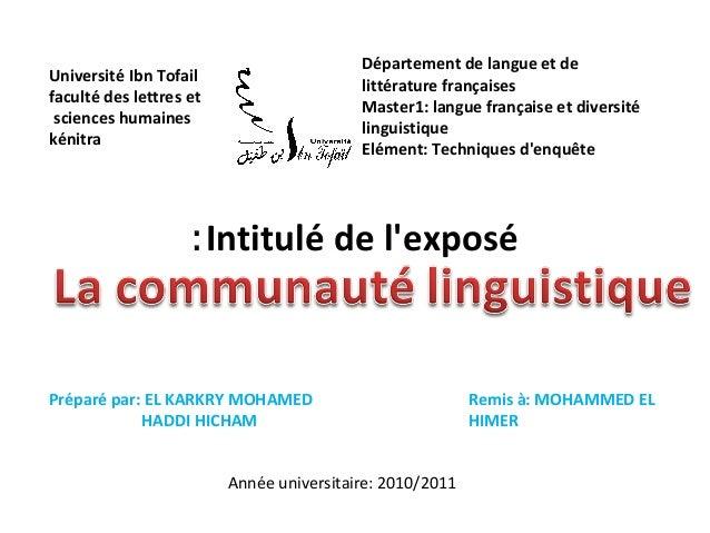 Intitulé de lexposé:Université Ibn Tofailfaculté des lettres etsciences humaineskénitraDépartement de langue et delittérat...