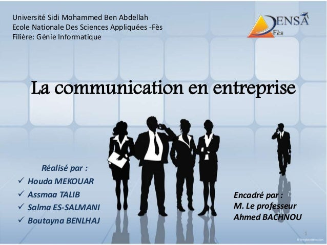 La communication en entreprise Réalisé par :  Houda MEKOUAR  Assmaa TALIB  Salma ES-SALMANI  Boutayna BENLHAJ Encadré ...