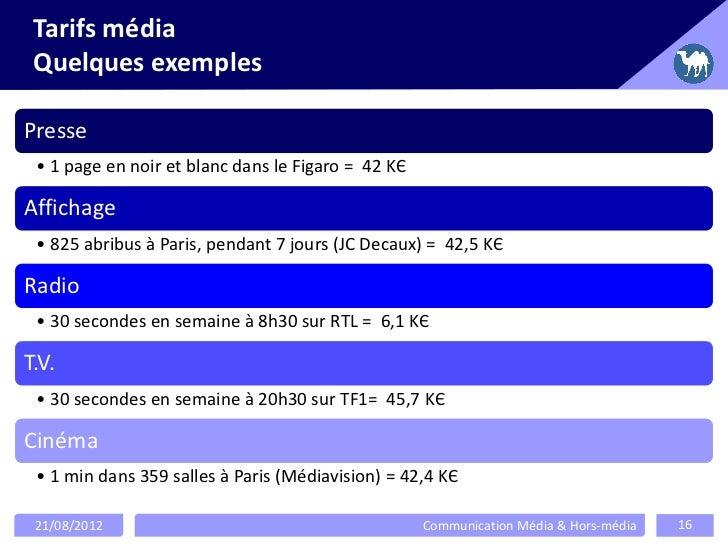 Tarifs média Quelques exemplesPresse • 1 page en noir et blanc dans le Figaro = 42 KЄAffichage • 825 abribus à Paris, pend...