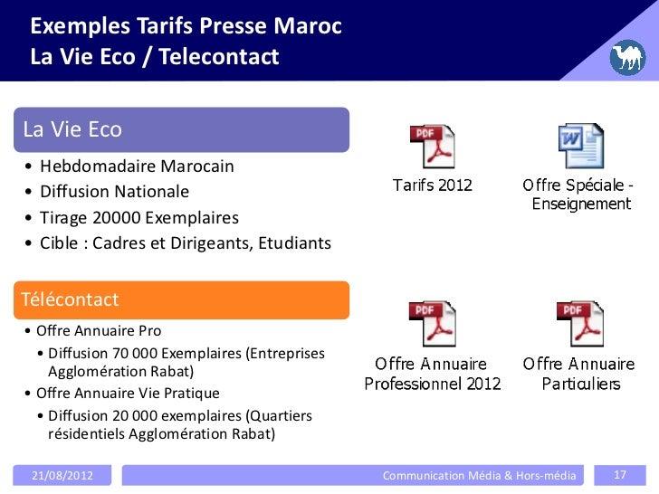 Exemples Tarifs Presse MarocLa Vie Eco / TelecontactLa Vie Eco•   Hebdomadaire Marocain•   Diffusion Nationale•   Tirage 2...