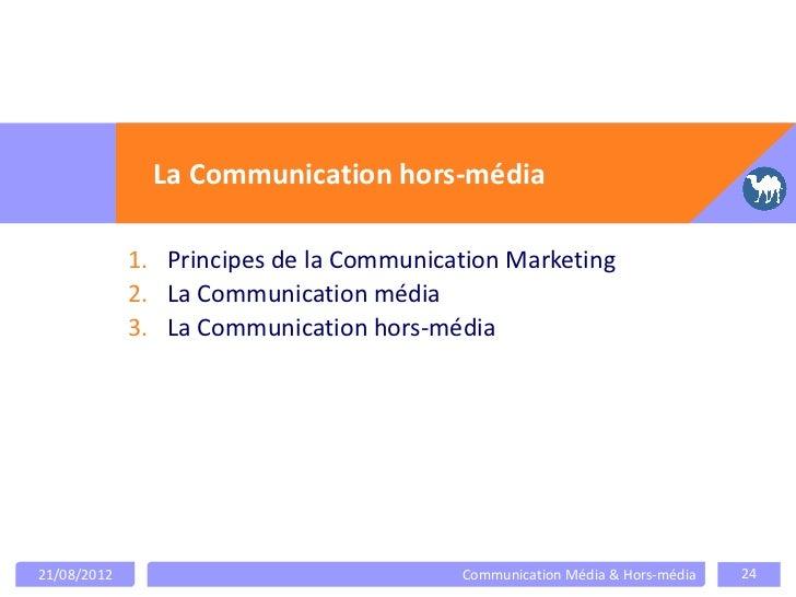 La Communication hors-média             1. Principes de la Communication Marketing             2. La Communication média  ...
