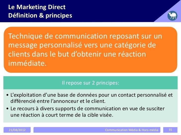 Le Marketing DirectDéfinition & principesTechnique de communication reposant sur unmessage personnalisé vers une catégorie...