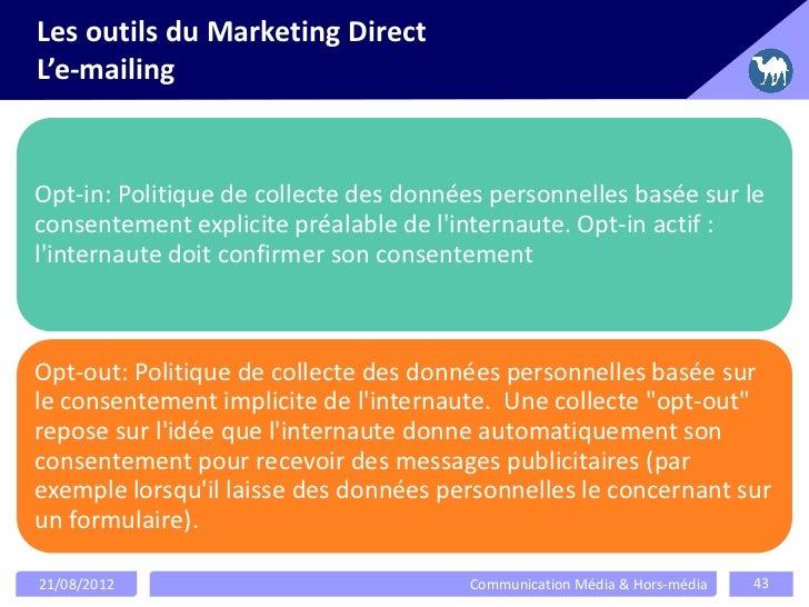 Les outils du Marketing DirectL'e-mailingOpt-in: Politique de collecte des données personnelles basée sur leconsentement e...