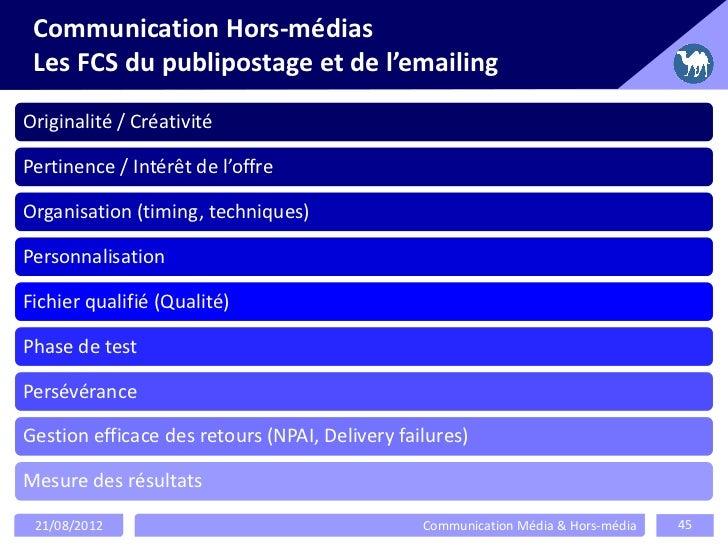 Communication Hors-médias Les FCS du publipostage et de l'emailingOriginalité / CréativitéPertinence / Intérêt de l'offreO...