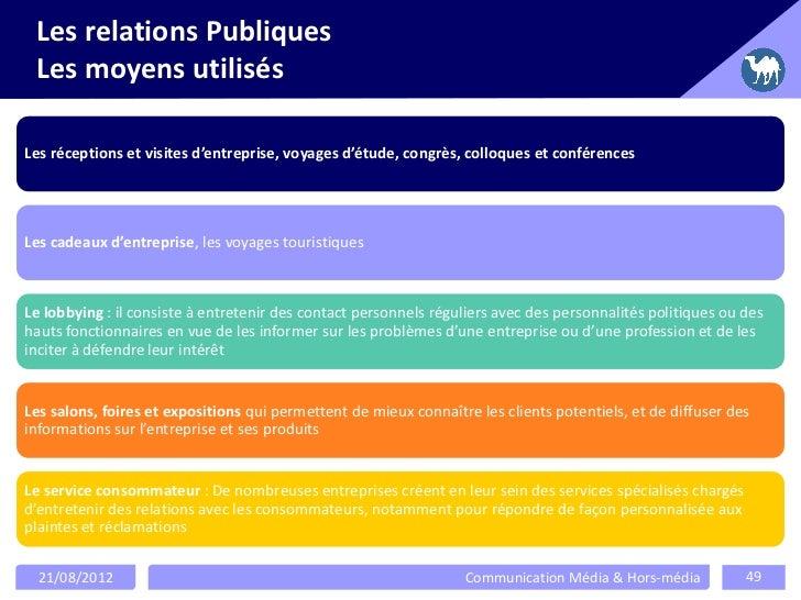 Les relations Publiques Les moyens utilisésLes réceptions et visites d'entreprise, voyages d'étude, congrès, colloques et ...