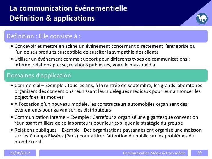 La communication événementielle Définition & applicationsDéfinition : Elle consiste à : • Concevoir et mettre en scène un ...