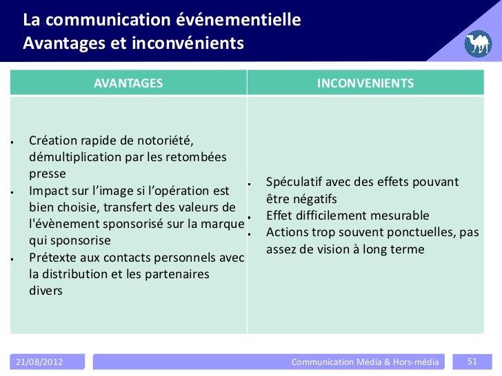 La communication événementielle Avantages et inconvénients             AVANTAGES                              INCONVENIENT...