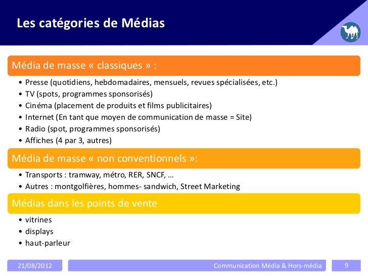 Les catégories de MédiasMédia de masse « classiques » : • Presse (quotidiens, hebdomadaires, mensuels, revues spécialisées...