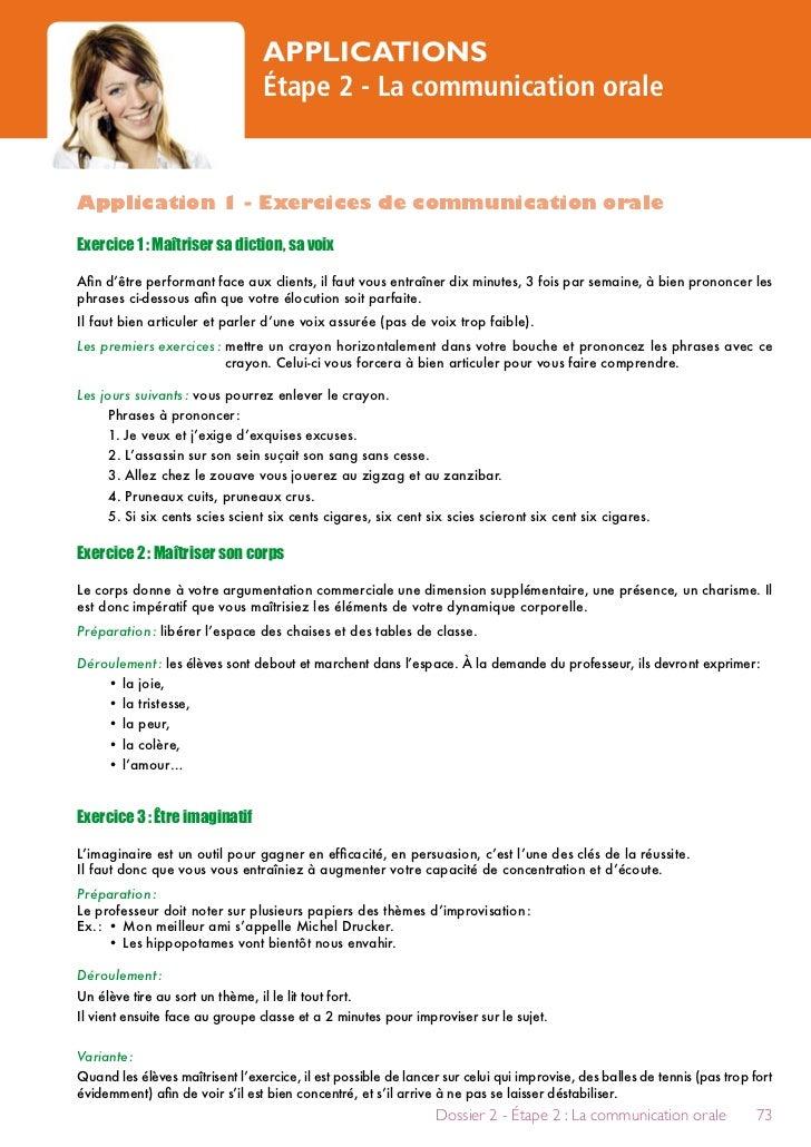APPLICATIONS                                 Étape 2 - La communication oraleApplication 1 - Exercices de communication or...