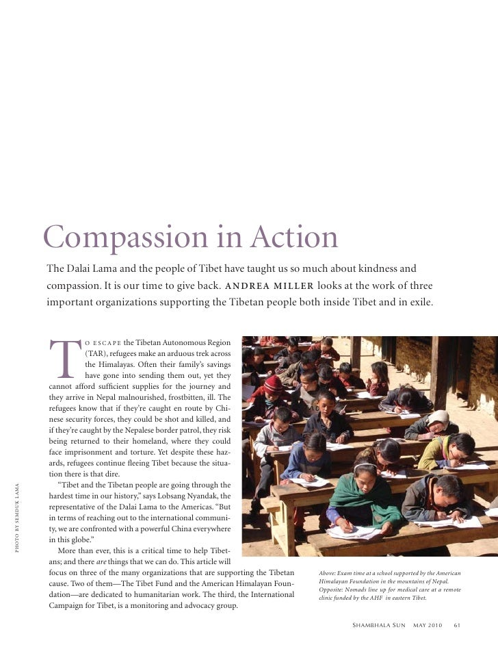 Compassion in Action                               The Dalai Lama and the people of Tibet have taught us so much about kin...