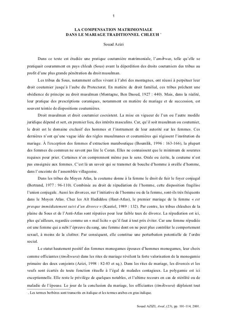 1                                 LA COMPENSATION MATRIMONIALE                              DANS LE MARIAGE TRADITIONNEL C...