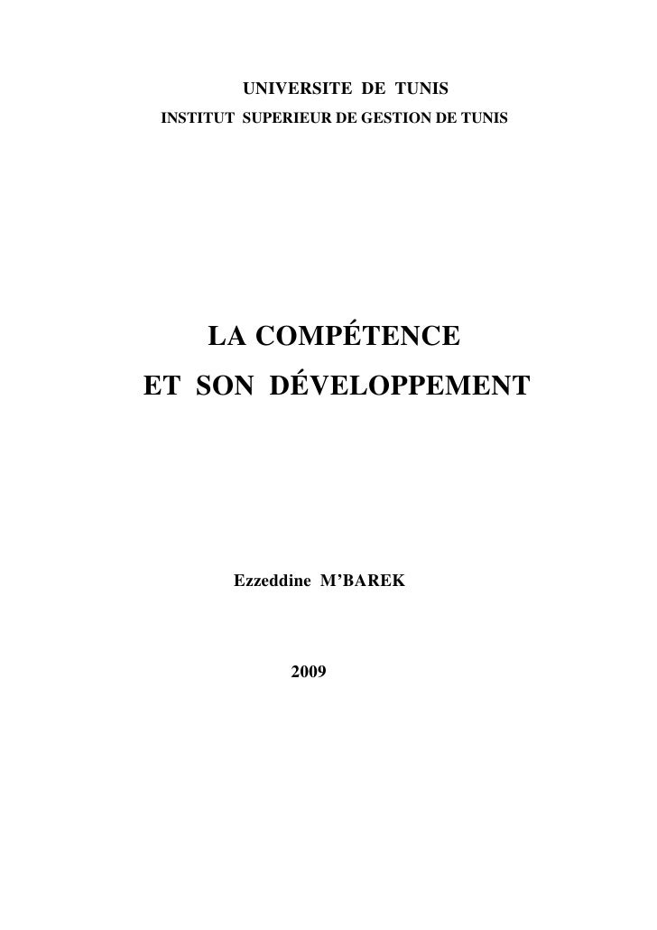 UNIVERSITE DE TUNIS INSTITUT SUPERIEUR DE GESTION DE TUNIS          LA COMPÉTENCE ET SON DÉVELOPPEMENT            Ezzeddin...