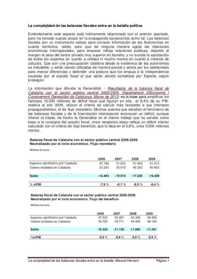 La complejidad de las balanzas fiscales entra en la batalla. Manuel Herranz Página 1 La complejidad de las balanzas fiscal...
