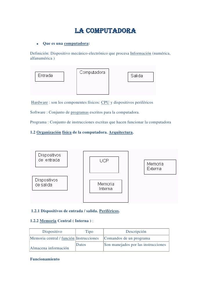 LA COMPUTADORA       Que es una computadora:Definición: Dispositivo mecánico-electrónico que procesa Información (numérica...