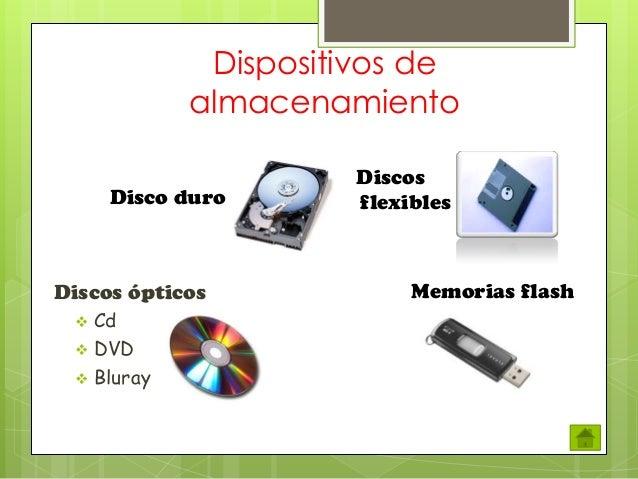 Dispositivos de almacenamiento Disco duro  Discos ópticos      Cd DVD Bluray  Discos flexibles  Memorias flash