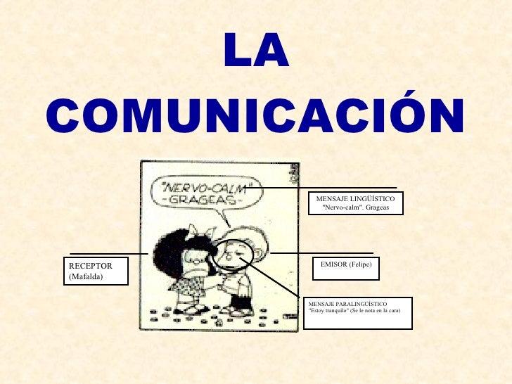 "LA COMUNICACIÓN EMISOR (Felipe) RECEPTOR (Mafalda) MENSAJE LINGÜÍSTICO ""Nervo-calm"". Grageas MENSAJE PARALINGÜÍS..."