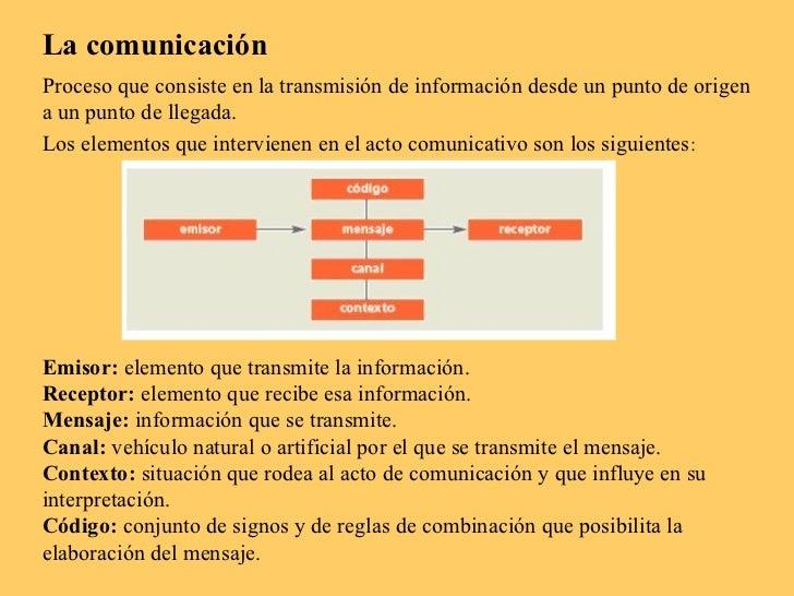 La comunicaciónProceso que consiste en la transmisión de información desde un punto de origena un punto de llegada.Los ele...