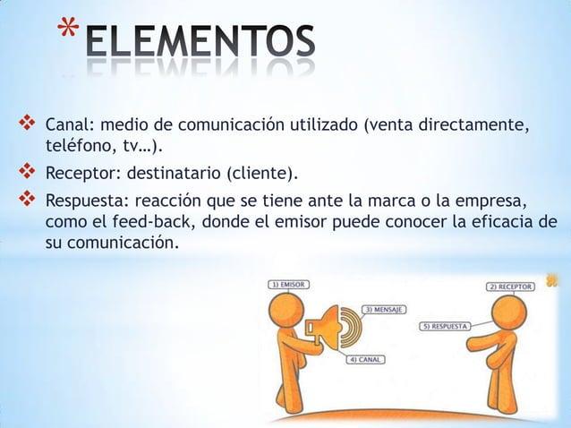 *   Canal: medio de comunicación utilizado (venta directamente,    teléfono, tv…).   Receptor: destinatario (cliente). ...