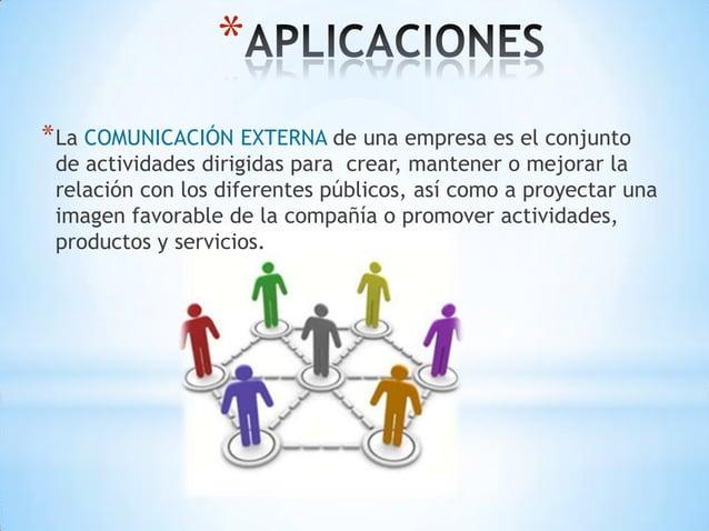 ** La COMUNICACIÓN EXTERNA de una empresa es el conjunto de actividades dirigidas para crear, mantener o mejorar la relaci...