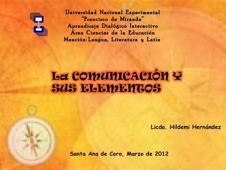 """Universidad Nacional Experimental      """"Francisco de Miranda"""" Aprendizaje Dialógico Interactivo  Área Ciencias de la Educa..."""