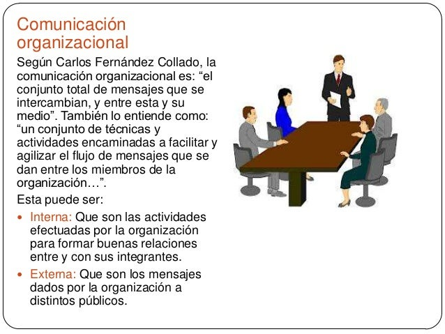 """Comunicación organizacional Según Carlos Fernández Collado, la comunicación organizacional es: """"el conjunto total de mensa..."""