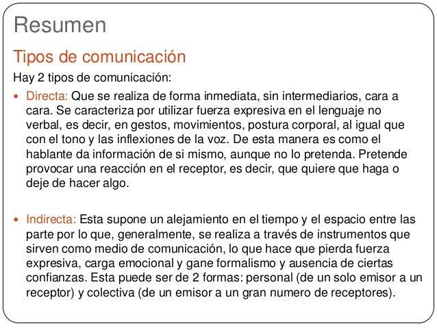 Resumen Tipos de comunicación Hay 2 tipos de comunicación:  Directa: Que se realiza de forma inmediata, sin intermediario...