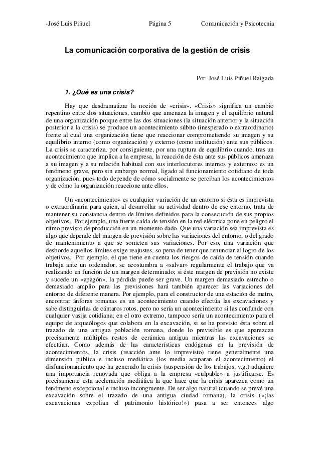 -José Luis Piñuel                       Página 5             Comunicación y Psicotecnia       La comunicación corporativa ...