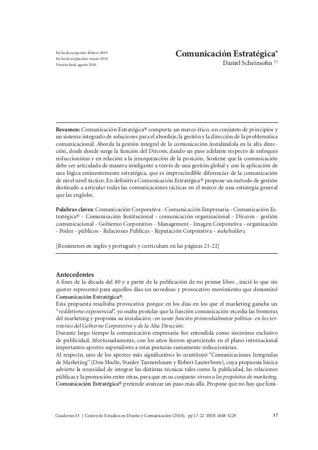Cuaderno 33 | Centro de Estudios en Diseño y Comunicación (2010). pp 17-22 ISSN 1668-5229 17 Daniel Scheinsohn Comunicació...