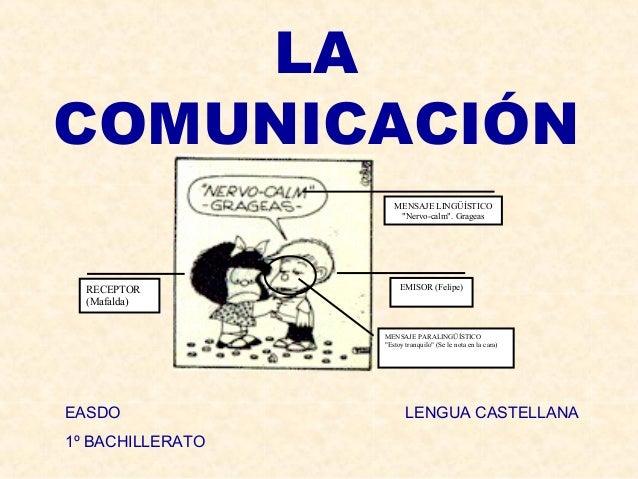 "LA COMUNICACIÓN MENSAJE LINGÜÍSTICO ""Nervo-calm"". Grageas  RECEPTOR (Mafalda)  EMISOR (Felipe)  MENSAJE PARALINGÜÍSTICO ""E..."