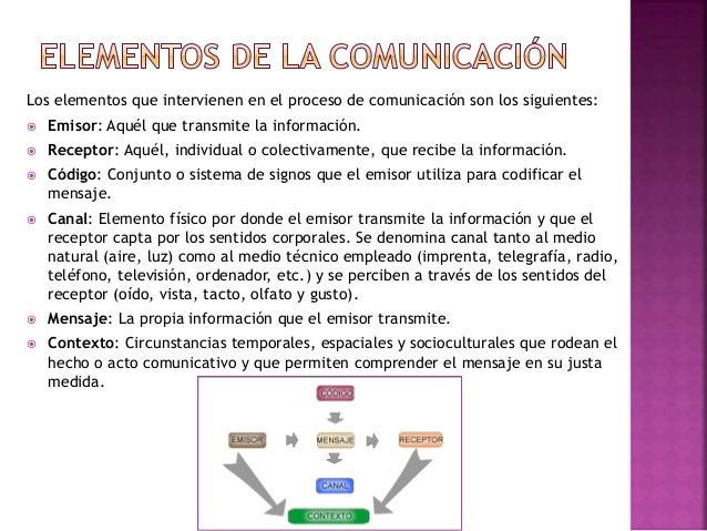 Los elementos que intervienen en el proceso de comunicación son los siguientes:  Emisor: Aquél que transmite la informaci...