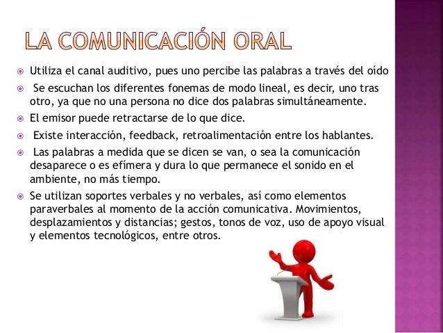  Utiliza el canal auditivo, pues uno percibe las palabras a través del oído  Se escuchan los diferentes fonemas de modo ...