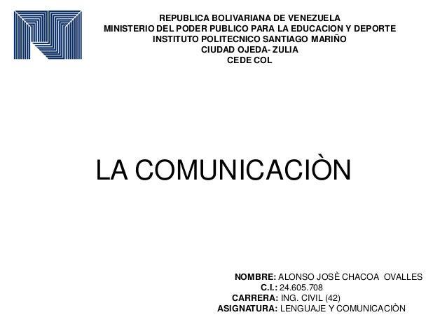 REPUBLICA BOLIVARIANA DE VENEZUELA MINISTERIO DEL PODER PUBLICO PARA LA EDUCACION Y DEPORTE INSTITUTO POLITECNICO SANTIAGO...