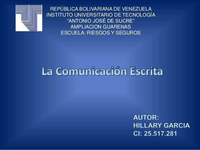 """REPÚBLICA BOLIVARIANA DE VENEZUELA INSTITUTO UNIVERSITARIO DE TECNOLOGÍA """"ANTONIO JOSÉ DE SUCRE"""" AMPLIACION GUARENAS ESCUE..."""